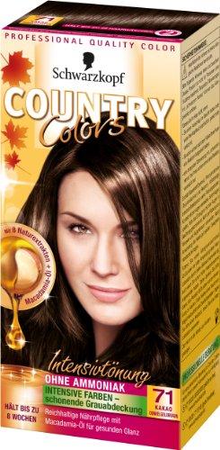 SCHWARZKOPF COUNTRY COLORS Intensiv-Tönung 71 Kakao Dunkelgoldbraun, Stufe 2, 3er Pack (3 x 123 ml)