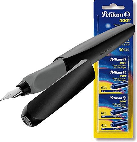 Pelikan 946806 Füller Twist in Faltschachtel, universell für Rechts- und Linkshänder, Feder M, schwarz (Schwarz | [ Patronen Set ])