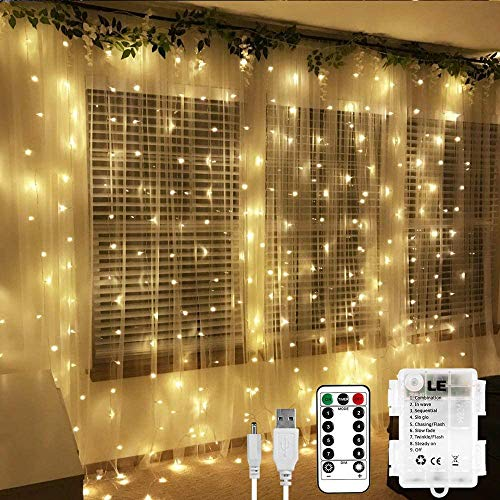 LE Fairy Curtain Lights 9.8 x 9.8 ft
