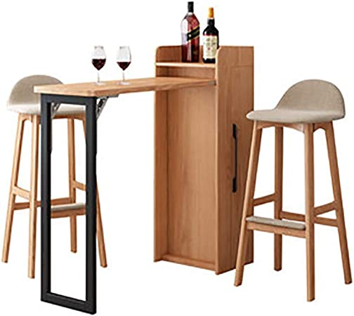 Lwieui Bar Tables Wall Mounted Kitchen Breakfast Bar Table Dining Table Coffee Bar With Storage Shelves Kitchen Bar Table Color Natural Size Free Size Amazon Co Uk Kitchen Home