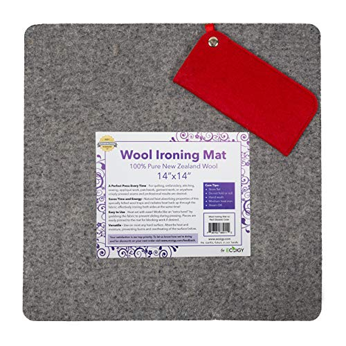 "Ecoigy 14"" x 14"" Wool Ironing Pad, 1/2"" Thick Wool Pressing Mat for Quilting, 100% New Zealand Wool Quilting Mat, Quilting Supplies and Notions, Best Ironing Mat with a Bonus Eyeglasses Case"