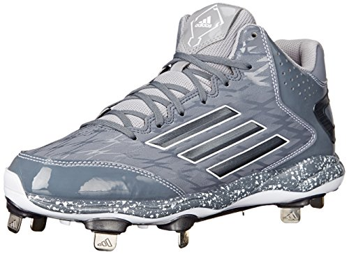 adidas Men's PowerAlley 2 Mid Baseball Shoe, Carbon Metallic/Clear Onix, 9 M US
