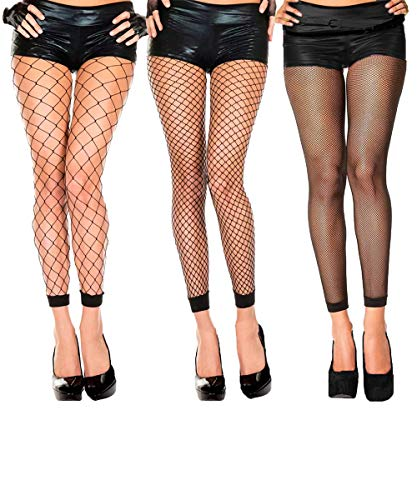 Abberrki Womens High Waist Fishnet Footless Tights Spandex Pantyhose Stockings(3 pairs)