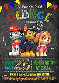 10 X Paw Patrol Personalised Children Birthday Party Invitations Or Thank You Cards