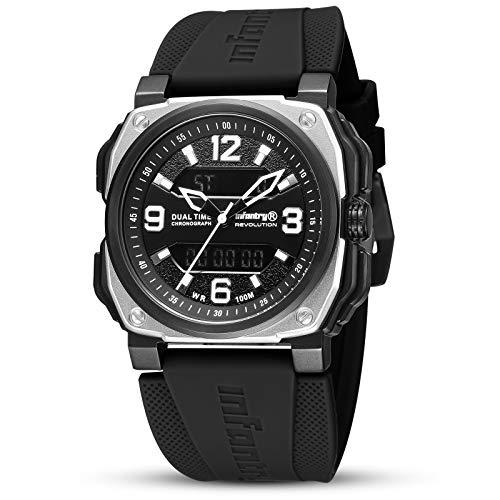 Herren Uhren Outdoor Uhr Armbanduhr Männer Digitaluhr Militäruhr Sport Herrenarmbanduhr Tactical Watch Herrenuhr Schwarz Kautschuk by Infantry