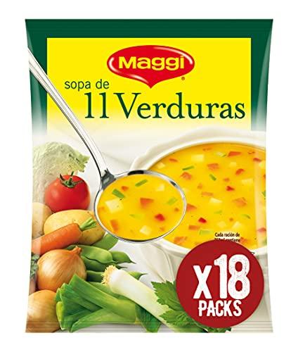 Maggi Sopa de 11 Verduras - Sopa Deshidratada - Paquete de 18x53g - Total: 954g