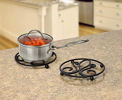 Spectrum Diversified Patrice, Heat-Resistant Steel Dining Protector Classic Metal Trivet Table, Holds Hot Pots & Cast Iron Cookware, Fleur de Lis Kitchen Decor, Black
