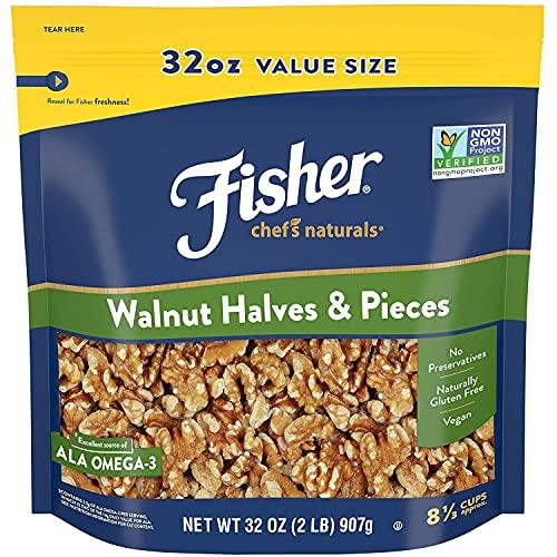 Fisher Chef s Naturals Walnut Halves & Pieces, 32oz, Naturally Gluten Free, No Preservatives, Non-GMO