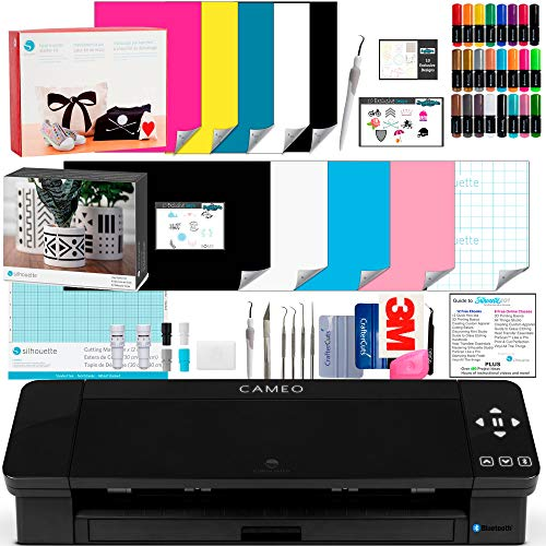 Silhouette Cameo 4 Black Bundle with Vinyl Starter Kit, Heat Transfer Starter Kit, 2 Autoblade-2, 24 Pack of Pens, CC Vinyl Tool Kit, 120, and Access to Ebooks, Tutorials, Classes.