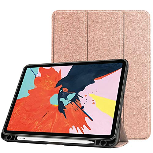 Case for New Ipad Air 4 10.9 Inch 2020 (4Th Generation) with Pencil Holder, Soft TPU Back And Trifold Smart Protective Cover with Auto Sleep/Wake,rose gold