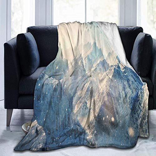 Blanket Mountains Winter Snow Throw Blanket Ultra Soft Velvet Blanket Lightweight Bed Blanket Quilt Durable Home Decor Fleece Blanket Sofa Blanket Luxurious Carpet for Men Women Kids