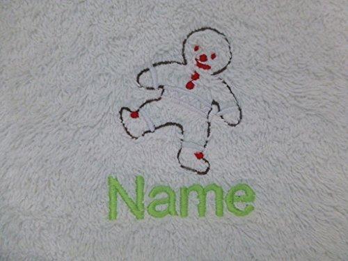 EFY Bébé Blanc à capuche Peignoir de bain ou serviette à capuche Blanc avec un homme Pain d'épices Logo et nom de votre choix, blanc, Baby Robe 0-9 months