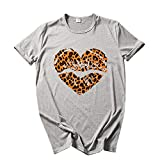 Women's Love Heart Printed T-Shirts Leopard Graphics Tees Short Sleeve Plus Size Tops Wife Gift Tunic Blouse Gray