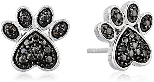 Jewelili High quality Sterling Silver Natural Black Diamond Round Credence Paw Accent