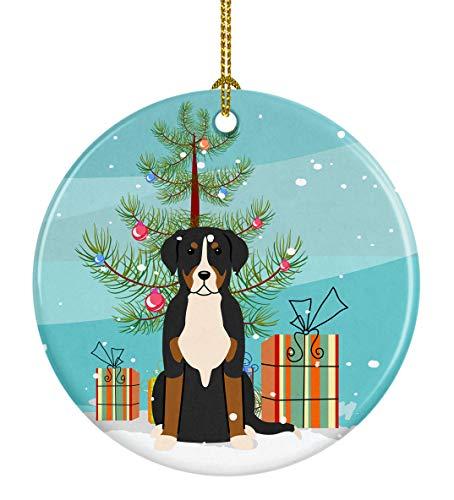 Caroline's Treasures Merry Christmas Tree Greater Swiss Mountain Dog Ceramic Ornament