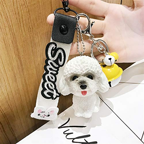 jsobh Keychains Dog Environmental PVC Lovely Dog Keychains Gift For Women Key Chain Car Key Ring Bag Pendant Jewelry Cartoons (Color : White)
