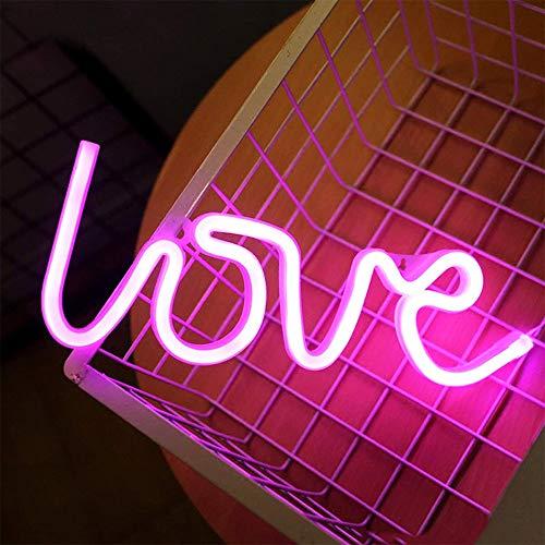 ENUOLI rosa del amor en forma de luces de la noche del LED Neon Signs USB o con pilas luces de la noche Lámparas arte de la decoración de pared Decoración de mesa luces de neón signos decorativo de H