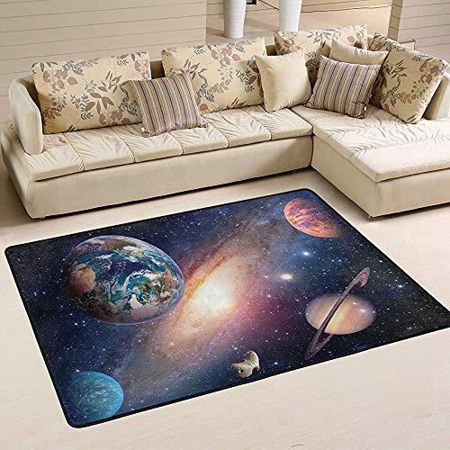 Carpet Space Planet Galaxy Erde Mars Saturn Solar System Fußmatte Milky Way Universe Indoor Outdoor Teppich Für Küche Wohnzimmer Schlafzimmer Außenbereich Teppich Im Eingangsbereich 210X150cm