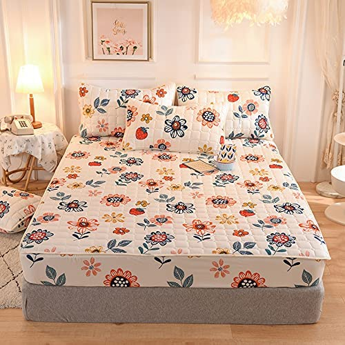 Spring new work Sunflower Max 71% OFF Mattress Pad Cartoon Flowers Quilted Fitted Flor Sheet