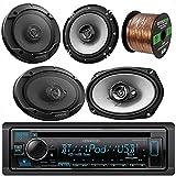Kenwood Car CD MP3 Receiver with Bluetooth AM/FM Radio Player Bundle 2 6x9...