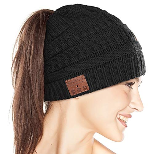 Bluetooth Beanie for Women, Ponytail Beanie Winter Music Hat, Knit Cap with Upgraded Bluetooth 5.0 Wireless Headphones, Unique Christmas Birthday Tech Gifts for Women Girls Mom Wife, Black