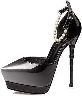 WHPSTZ Stiletto High Heels Elegant Sexy Beaded Work Shoes Shallow Mouth Sandals Stiletto Heel 14.5CM 4 Colors High Heels (Color : Gray, Size : EU39/UK6/CN39)
