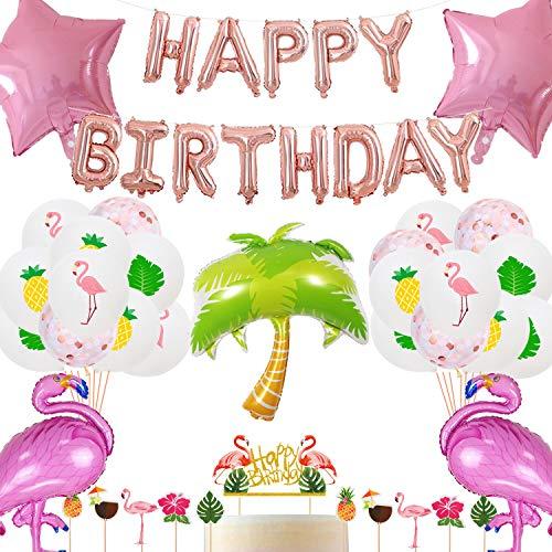 Flamingo Geburtstags Dekorationen, Happy Birthday Ballon Banner Flamingo Stern Kokosnussbaum Folie Luftballons Konfetti Luftballons Flamingo Foto Requisiten Hawaiian Luau Tropische Geburtstagsfeier