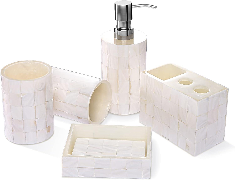 VARWANEO Bathroom Accessories Credence Set White Laser Pearl 5-Piec 35% OFF Beige