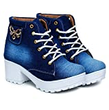 DICY Boots Shoe Jeans for Girls High Heel (Ankle) Stylish Ideal for Both Women & Girls| Wear These as Casual or Even for Any Special Occasion Blue