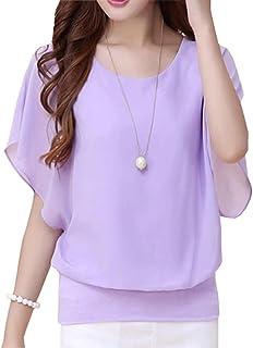Women's Tops Chiffon T Shirt Summer Blouse Short Sleeve Korean Fashion Clothing
