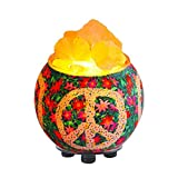 Himalayan Crystal Litez Salt Rock Lamp in Handcrafted Artisan Bowl with UL Listed Dimmer Switch Natural Aromatherapy Diffuser(Floral Peace Sign)