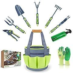 Hortem 9PCS Gardening Tools Set, Durable Hand Garden Tools Include Trowel, Cultivator, Weeder, Bypass Pruners, Ideal Gardening Gifts for Women Men