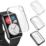 FITA [3 Stücke] Hülle Kompatibel mit Huawei Watch Fit/Elegant Edition Schutzhülle, Vollständige Abdeckung Weiche TPU Schutzfolie Cover Hülle Kompatibel mit Huawei Watch Fit Smartwatch