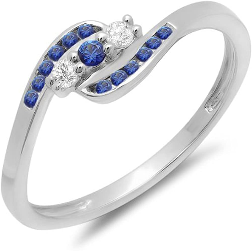Dazzlingrock Collection 14K Round Blue Sapphire And White Diamond Ladies Anniversary Promise Wedding Ring, White Gold