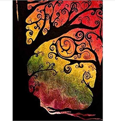 QIAOYUE Malen nach Zahlen DIY Malen Kit für Erwachsene und Kinder Anfänger Malen Kunst Vorgedruckte Leinwand Abstrakte Farbe Baum Schöne Ölgemälde