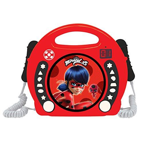 Lexibook Miraculous Ladybug CD-speler met 2 geïntegreerde microfoons, programmeerfunctie, hoofdtelefoonaansluiting, voor kinderen, AC-werking of batterij, rood/zwart, RCDK100MI