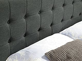 Istyle Amelia Queen Bed Head Fabric Charcoal