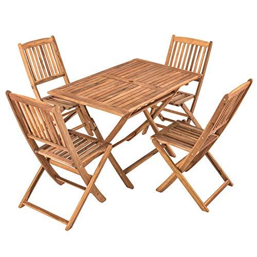 IHD Akazienholz Gartensitzgruppe 5tlg, Gartentisch mit 4 Gartenstühlen, klappbar