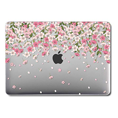 GMYLE MacBook Pro 13 Inch Case 2018 with Touch Bar, Soft-Touch Smooth Snap On Plastic Hard Clear Cover for Apple Mac Pro 13' A1989 A1706 A1708 2016 2017 Release - Pink Sakura Floral Rain