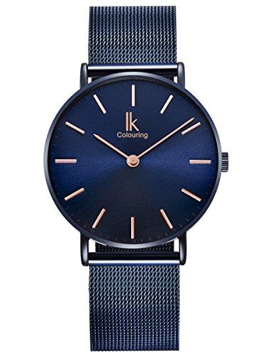Alienwork Navy Blue Armbanduhr Herren Damen blau Metall Mesh Armband Edelstahl Ultra-flach