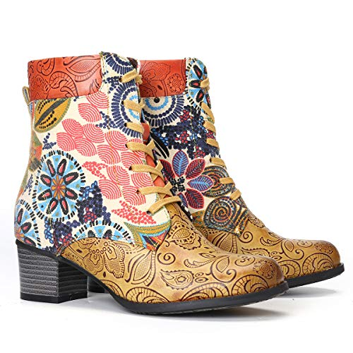 gracosy Leather Ankle Bootie for Women, Block Heel Boots Vintage Fashion Short Boots Side Zipper Floral Pattern Bohemia Handmade Lace up Boots Yellow 11 US