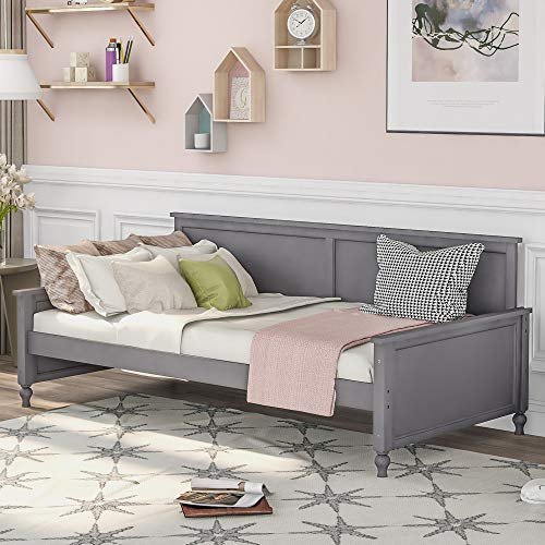 P PURLOVE Twin Size Daybed with Bulb-Shaped Feet Design Wood Bed, Gray
