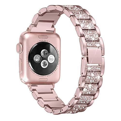 Pulseira Hubei1 para Apple Watch 40 mm, 44 mm, 38 mm, 42 mm, pulseira feminina de diamante para Apple Watch série 4 3 2 1 iWatch pulseira de aço inoxidável