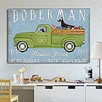 2個 ファニー ドーバーマン 子犬 ドライビング フラワー トラック フラワー ファーム フレッシュ ブリキ看板 レトロ フラワー プラント メタル ブリキ サイン ぼろぼろのシックな壁の装飾 プラーク ガーデン ハウス サイン 12x8インチ