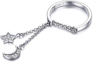 Kokoma Fashion CZ Moon Star Eternity Promise Ring Sterling Silver Adjustable Crystal Tassel Chain Wedding Statement Rings ...
