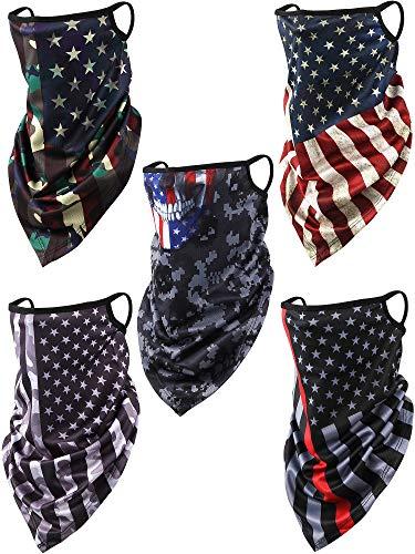 SATINIOR 5 Pieces American US Flag Bandanas Ear Loops Face Cover Summer UV Protection Neck Gaiter Scarf Headband Balaclava for Women Men, Multicoloured, Medium