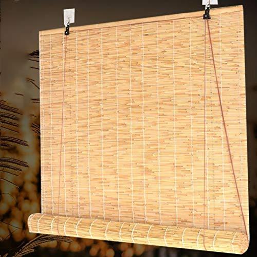 Outech Persiana Enrollable de Bambú Paja, Senior Retro Estores Bambu, Persiana de Madera Sombrilla para Ventanas/Exteriores/Patio/Puerta, Decoración de Paredes