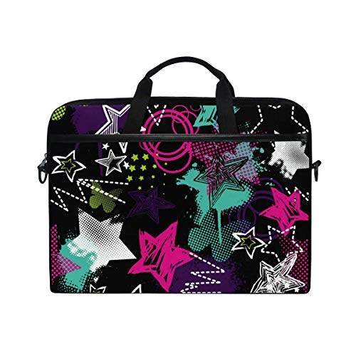 Laptop Sleeve Case,Laptop Bag,Colorful Stars Geomtric Pattern Water Briefcase Messenger Notebook Computer Bag with Shoulder Strap Handle,29×40 CM/15.6 Inch
