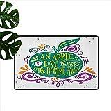 Anzhutwelve Citas de Entrada, Alfombra de Entrada inspiradora artística de Manzana para motivación, Dieta Limpia y Saludable, 16 x 24 Pulgadas, Alfombra de Piso para Cocina Sala de Estar