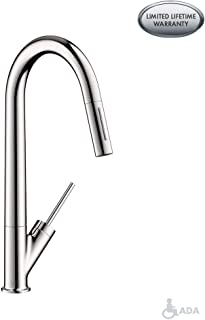 AXOR Starck Luxury 1-Handle 18-inch Tall Kitchen Faucet with Pull Down Sprayer Magnetic Docking Spray Head in Chrome, 10821001